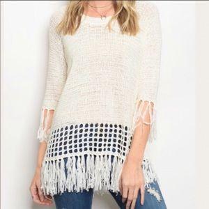 Sweaters - Ivory Fringe Sweater NWT • BOHO VIBE KNIT TASSELS